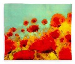 Poppy Time Fleece Blanket