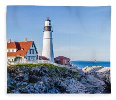 Portland Head Light House Cape Elizabeth Maine Fleece Blanket