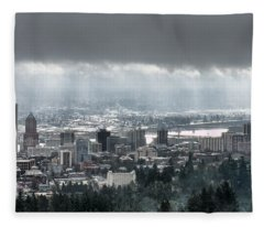 Portland Oregon After A Morning Rain Fleece Blanket