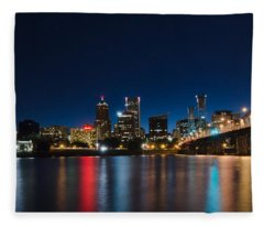 Portland Oregon Nightscape Fleece Blanket