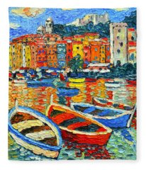 Portovenere Harbor - Italy - Ligurian Riviera - Colorful Boats And Reflections Fleece Blanket
