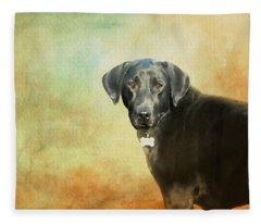 Portrait Of A Black Labrador Retriever Fleece Blanket