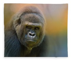 Portrait Of A Gorilla Fleece Blanket
