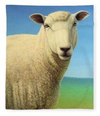 Portrait Of A Sheep Fleece Blanket