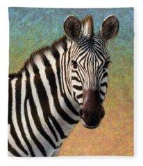 Portrait Of A Zebra - Square Fleece Blanket