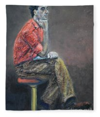 Portrait Of Ali Akrei - The Painter Fleece Blanket