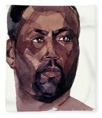 Watercolor Portrait Of An Athlete Fleece Blanket