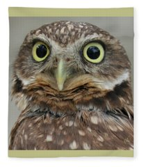 Portrait Of Burrowing Owl Fleece Blanket