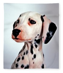 Portrait Of Dalmatian Dog Fleece Blanket