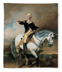 Portrait Of George Washington Taking The Salute At Trenton Fleece Blanket