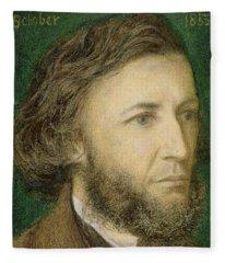 Portrait Of Robert Browning Fleece Blanket