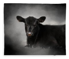 Portrait Of The Black Angus Calf Fleece Blanket
