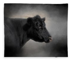 Portrait Of The Black Angus Fleece Blanket