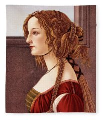 Portrait Of Young Woman By Botticelli Fleece Blanket