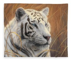 Portrait White Tiger 2 Fleece Blanket