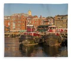 Portsmouth Harbor With Tugboats Fleece Blanket