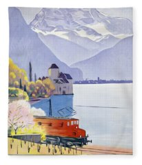 Poster Advertising Rail Travel Around Lake Geneva Fleece Blanket