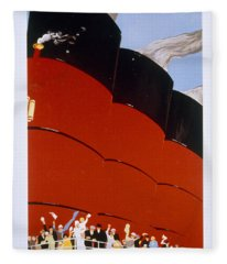Poster Advertising The Rms Queen Mary Fleece Blanket