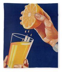 Poster With A Glass Of Orange Juice Fleece Blanket