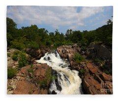 Potomac River Great Falls Fleece Blanket