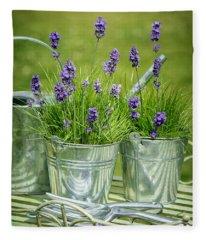Pots Of Lavender Fleece Blanket