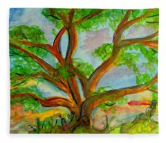 Prayer Mountain Tree Fleece Blanket