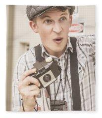 Press Photographer With Great Exposure Fleece Blanket