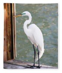Pretty Great Egret Fleece Blanket