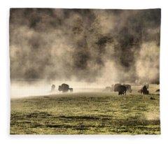 Buffalo Herd In Yellowstone Fleece Blanket