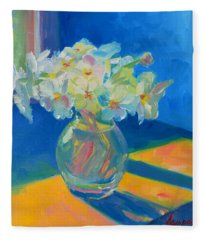 Primroses In Spring Light - Still Life Fleece Blanket