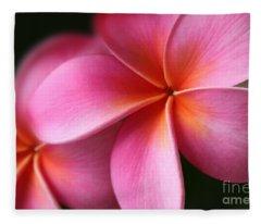 Pua Lei Aloha Cherished Blossom Pink Tropical Plumeria Hina Ma Lai Lena O Hawaii Fleece Blanket