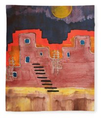 Pueblito Original Painting Fleece Blanket