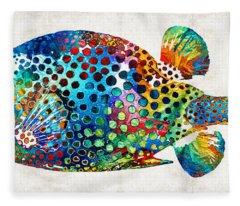 Puffer Fish Art - Puff Love - By Sharon Cummings Fleece Blanket