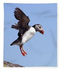 Puffin In Flight Fleece Blanket