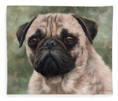 Pug Portrait Painting Fleece Blanket