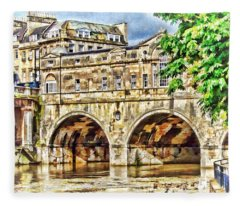 Pulteney Bridge Bath Fleece Blanket