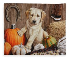 Pumpkin Puppy Fleece Blanket