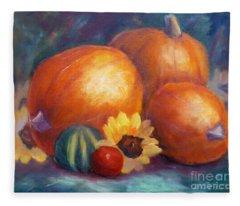Pumpkins And Flowers Fleece Blanket