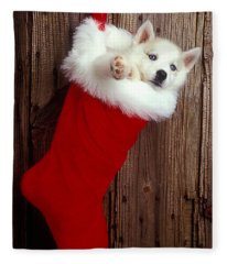 Puppy In Christmas Stocking Fleece Blanket