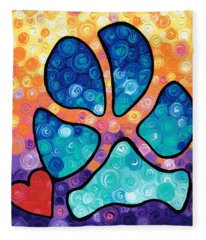 Puppy Love - Colorful Dog Paw Art By Sharon Cummings Fleece Blanket