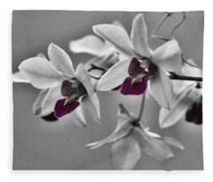 Purple And Pale Green Orchids - Black And White Fleece Blanket