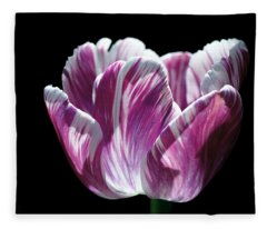 Purple And White Marbled Tulip Fleece Blanket