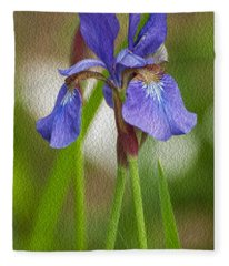 Purple Bearded Iris Oil Fleece Blanket