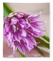 Purple Chive Flower Fleece Blanket