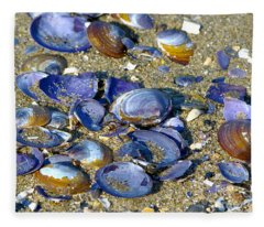Purple Clam Shells On A Beach Fleece Blanket