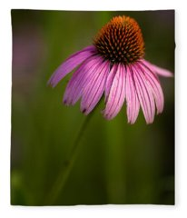 Purple Cone Flower Portrait Fleece Blanket