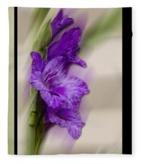 Purple Gladiolus Fleece Blanket