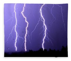 Purple Rain Lightning Fleece Blanket