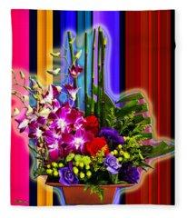 Purple Lady Flowers Fleece Blanket