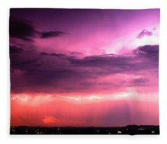 Purple Lightning Panorama Fleece Blanket